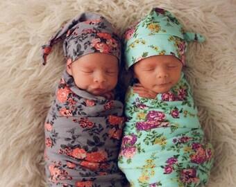 Designer Baby swaddle set, floral baby blanket, Baby knot top hat, Baby shower gift, floral swaddle set, floral blanket- GREY only