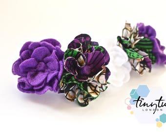 Felt Flower Crown, African Print Flowers Headband,