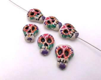 Six Hand painted and formed Calavera skull beads by Marie Segal 2018 set 3