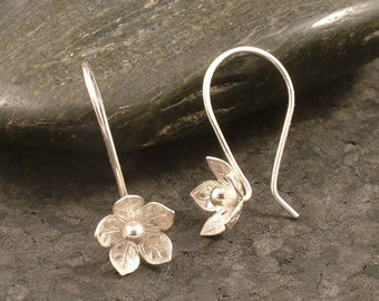 Silver Flower Earrings / Feminine Charm / Sterling Silver Hooks / Simple Silver Earrings  READY TO SHIP / Hooked on Flowers Wife Gift Girl