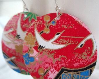 Red Multicolored Medium Origami Earrings
