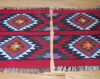 Pair Native American Rugs Vintage Area Rugs Handwoven Tribal American Indian