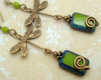 Green Dragonfly Earrings and Handmade Spiral in Boho Chic Style