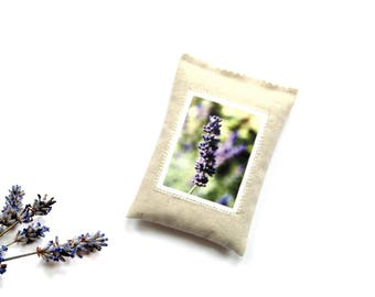 Lavender garden photo sachet drawer freshener, organic lavender sachet, teacher gift