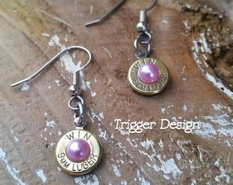 9mm Caliber Dangle Bullet  Casing Earrings- Light Purple Pearl