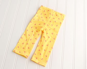 Sunshine and Smiles - newborn pants in yellow with raspberry fuchsia hot pink heart style blossoms (RTS)
