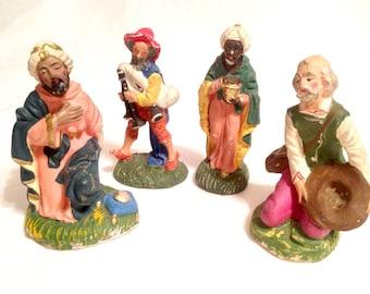 chippy Italian Nativity figurines; kings travelers; nativity replacememt; yesteryears Christmas