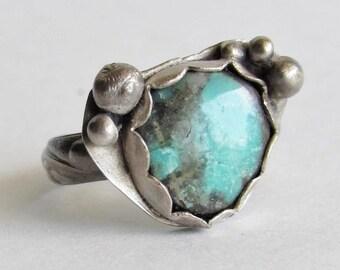 Ladies Turquoise Ring - Size 8 Ring - Turquoise Jewelry - Artisan Turquoise Ring - Statement Ring