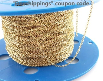 1 metre 2.2X1.6mm 16K Gold plated O shape chain for bridal wedding birthday gift AG000076