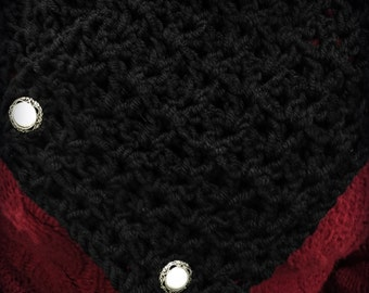 Gorgeous Black & Pearl  Victorian Crocheted Neckwarmer/Scarf''