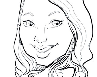 Custom caricature. Face in black and white. Hand-drawn.