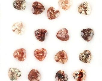 Oregon Sunstone Faceted Heart Gemstone Dark Semi Precious Gemstone