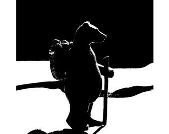 Moonlight Bear Hike 11x14 Black and White Print