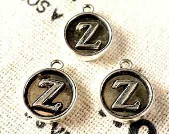 Alphabet letter Z charm silver vintage style jewellery supplies