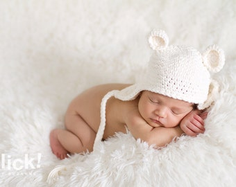 Newborn cream bear beanie with earflaps