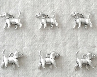 Tibetan Silver Dog Charms - 15 x 15 mm - Set of 6