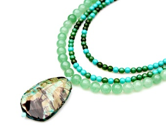 Jasper Necklace STATEMENT Necklace Turquoise Necklace Green Jade Necklace Triple Strand Gemstones Boho Chic Rustic Country Chic by Mei Faith