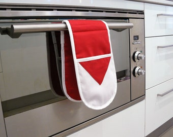 Double Oven Mitt - pot holder red and white football inspired Sydney Swans