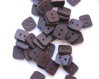 small walnut - clearance - small square button pack - 8 pieces