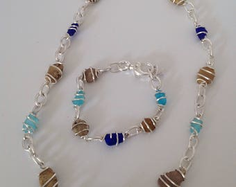 Sterling silver Seaglass and beach pebble necklace and bracelet set