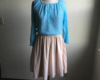 vintage 90s turquoise embroidered peasant blouse