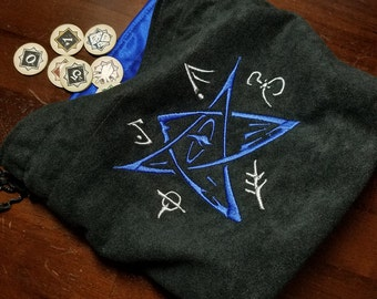 Lovecraft Embroidered Lined XL Drawstring Tile/Dice Bag - Made to Order