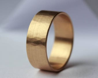 8x1mm Subtle Hammer Textured Wide Men's Wedding Band  - Gold or Palladium Recycled, Eco-friendly, Ethical Wedding - Organic Wedding Ring
