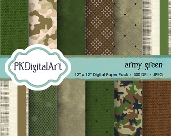 """Military Digital Paper - """"Army Green""""  patterns backgrounds, projects, design, scrapbooking"""