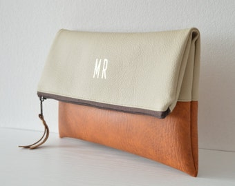 Colorblock monogrammed clutch purse, Bridesmaids gift, Foldover clutch bag