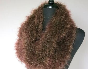 SALE - Outlander Inspired Faux Fur Knitted Capelet Brown Color Claire's Cowl Infinity Scarf