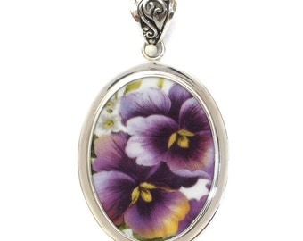 Broken China Jewelry Purple Pansy Double Sterling Oval Pendant