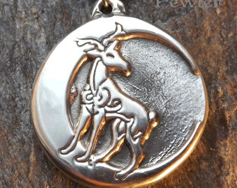 Stag Moon - Pewter Pendant - Celtic, Knotwork, Crescent, Moon, Stag, Heart, Inspiration and Balance,  Personal Strength Jewelry