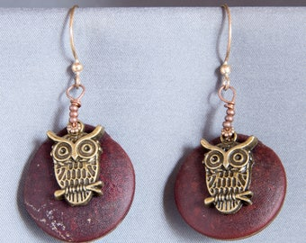 Owls on a Red Moon Earrings