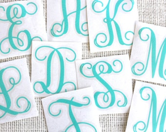 Vine Font Monogram, Initial Decal, Single Initial Decal, Monogram Sticker, Vinyl Monogram Decal, Car Monogram, Personalized Sticker Decal