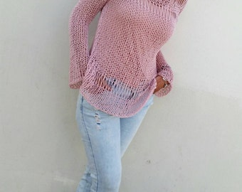 Blush pink sweater, summer loose knit, women knit sweater, pink sweater, summer sweater, hand knit pullover, pink pullover