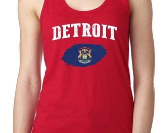 Detroit Michigan Women Tops Next Level Racerback Tank Top