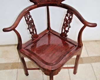 Gorgeous Rare Burl Mahogany Sparrow Carved Back Theme corner chair Vintage