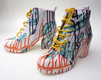 Hand painted boots with dripping paint