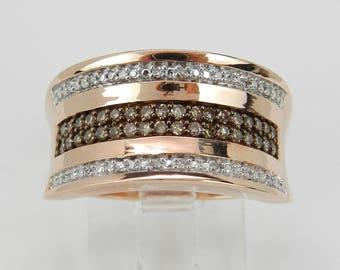 Fancy Cognac Diamond Wedding Ring Anniversary Band Rose Pink Gold Size 7