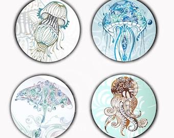Abstrait calmars méduse Stingray aimants ou macarons ou Flatback médaillons
