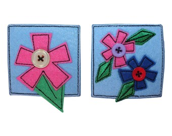 ID 1717AB Set of 2 Flower Badge Patches Garden Sign Embroidered Iron On Applique