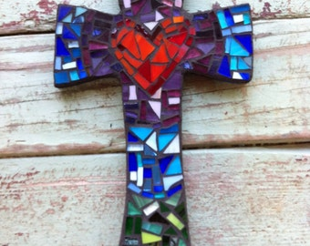 Medium Mosaic cross with heart- purples, blues, greens