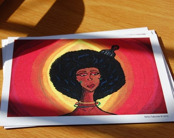 Afro Love Afrocentric Flat Note Cards