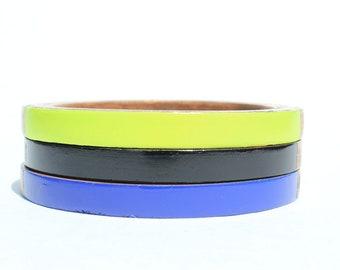 Karen O. Skinny Bangle Set/ Wood Bracelet Trio/Stacking Bangles/ Painted Neon Colors/ Band of Color/ xs-xl