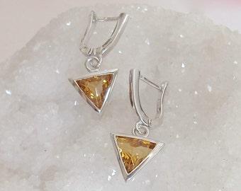 Citrine Earring Yellow Topaz Earring Triangle Earring Geometric Earring November Birthstone Earring Sterling Silver Yellow Citrine Dangle