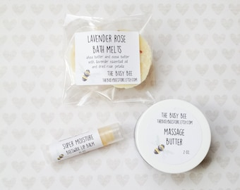 All Natural Small Couples Spa Gift Set - Massage Body Butter Lip Balms Bath Melts Bath and Beauty Products