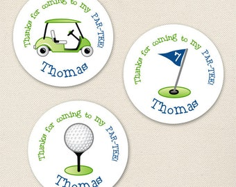Navy Golf Party Favor Stickers - Sheet of 12 or 24