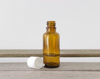 30ml Essential Oil Bottle with White Cap - Essential Oil Storage Bottles, Amber Glass Bottle, Aromatherapy Bottle, 1 oz Essential Oil Bottle