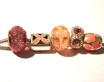 5 Pearl rhinestone European charms - pink - 11 x 6 mm - 11 H76