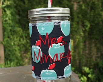 Apples Mason Jar cup  24 oz large Tumbler with fabric sleeve- teachers gift - mothers day- candy swirl straw included